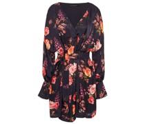 Julia Floral-print Hammered-satin Mini Wrap Dress