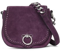 Studded Suede And Leather Shoulder Bag