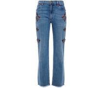 Frayed Studded High-rise Straight-leg Jeans