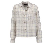 Kessa Plaid Wool-blend Shirt Ecru