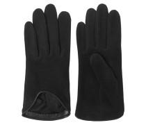 Moto Leather-trimmed Suede Gloves Schwarz