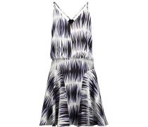 Printed Washed-silk Mini Dress Indigo