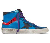 Glitter-trimmed Leather High-top Sneakers Azurblau