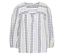 Winter Geraffte Bluse aus Baumwoll-jacquard