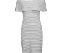 Carys Off-the-shoulder Ribbed Striped Stretch-knit Mini Dress Grau