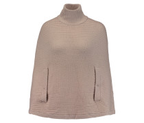 Ribbed Wool Turtleneck Poncho Beige