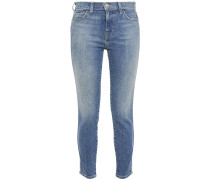 Woman The Caballo Cropped Faded Mid-rise Skinny Jeans Mid Denim