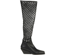 Paneled Woven Leather Over-the-knee Boots