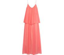 Mael Pleated Silk-chiffon Maxi Dress Korall