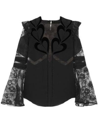 Embroidered Point D'esprit-paneled Velvet-trimmed Chiffon Blouse Black