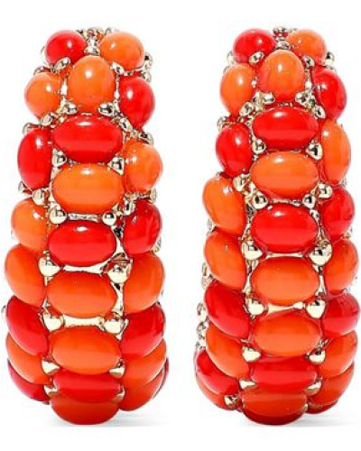22-karat Gold-plated Stone Hoop Clip Earrings Coral Size --