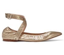 Love Latch Metallic Leather Point-toe Flats Gold