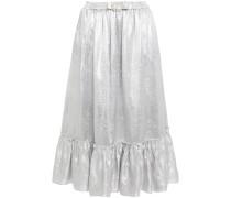 Gathered Faux Pearl-embellished Metallic Jacquard Midi Skirt