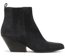 Woman Sinclair Embroidered Suede Ankle Boots Dark Gray