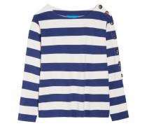 Striped Cotton-jersey Top Blau