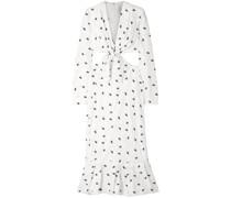 Cutout Knotted Polka-dot Jacquard Midi Dress