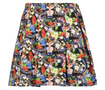 Parson pleated printed crepe mini skirt