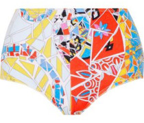 Printed cotton-blend terry bikini briefs