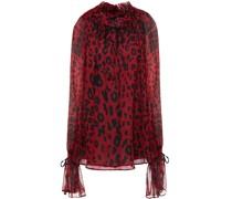 Geraffte Bluse aus Seidenkrepon mit Leopardenprint