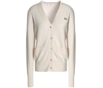 Appliquéd cotton and wool-blend cardigan