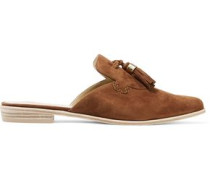 Slidealong tasseled suede slippers