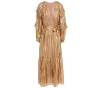 Talitha Ruffled Striped Silk And Lurex-blend Midi Dress