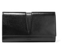 Cutout Glossed-leather Clutch Schwarz