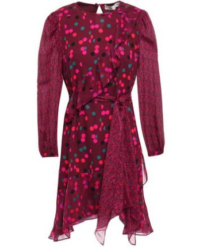 Belted Paneled Printed Crepe And Chiffon Mini Dress Plum