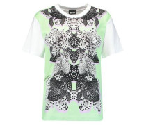 Printed crepe de chine and jersey T-shirt