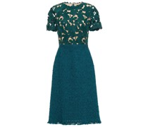 Paneled Guipure Lace And Bouclé-tweed Midi Dress