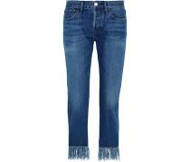 WM3 Crop Fringe mid-rise straight-leg jeans