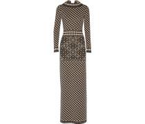 Empire Intarsia-knit Merino Wool Maxi Dress Schwarz