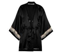 Lace-trimmed Silk Robe Schwarz
