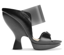 Leather And Suede Sandals Schwarz