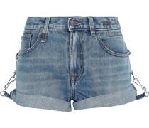 Woman Hook-detailed Faded Denim Shorts Mid Denim