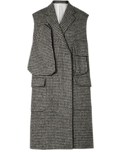 Woman Oversized Houndstooth Wool-blend Vest Gray