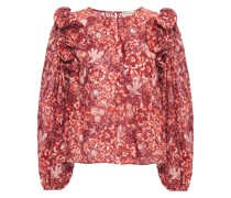 Ruffled Printed Cotton-blend Blouse