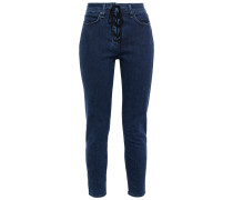 Nina Cropped Lace-up High-rise Skinny Jeans
