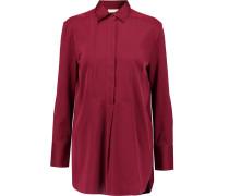 Rianne Stretch-silk Satin Shirt Burgunder