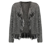 Metallic Fringed Woven Cardigan Schiefer