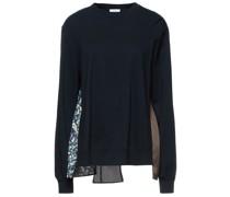 Sweatshirt aus Baumwollfrottee und Crêpe mit Print