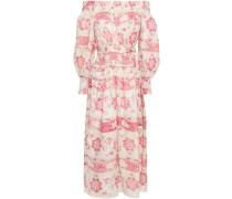 Off-the-shoulder Printed Linen-gauze Midi Dress Ecru Size 0