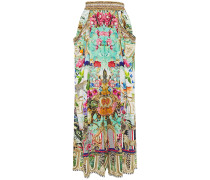 Crystal-embellished Printed Silk Crepe De Chine Wide-leg Pants