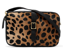 Printed Calf Hair And Textured-leather Shoulder Bag Schwarz