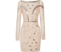 Klementina Embellished Tulle Mini Dress Beige
