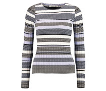 Striped Stretch Ribbed-knit Top Lavendel
