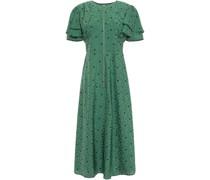Ruffled Floral-jacquard Midi Dress