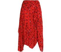Asymmetric Floral-print Crepe De Chine Skirt