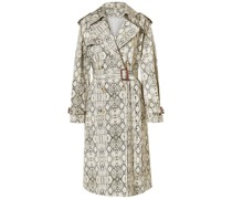 Snake-print Cotton Trench Coat