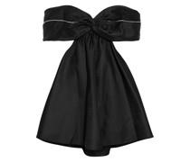 Schulterfreies Minikleid aus Duchesse-satin mit Cut-outs und Kristallverzierung